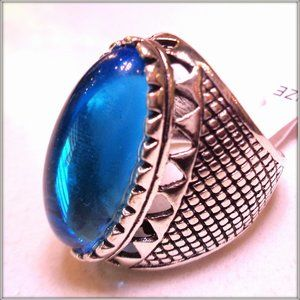 Natural Blue Gemstone Men Woman Ring S 8